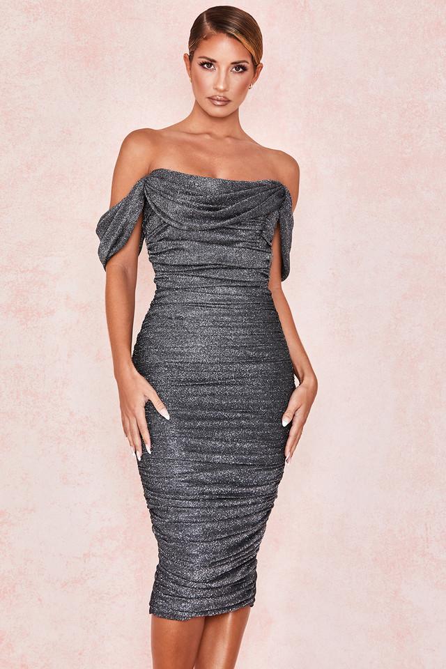 Carlotta Grey Lurex Sparkle Off Shoulder Dress