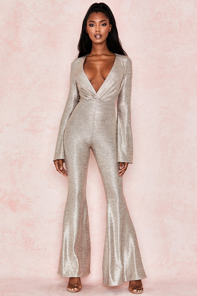 Catrin Gold Lame Plunge Neck Jumpsuit