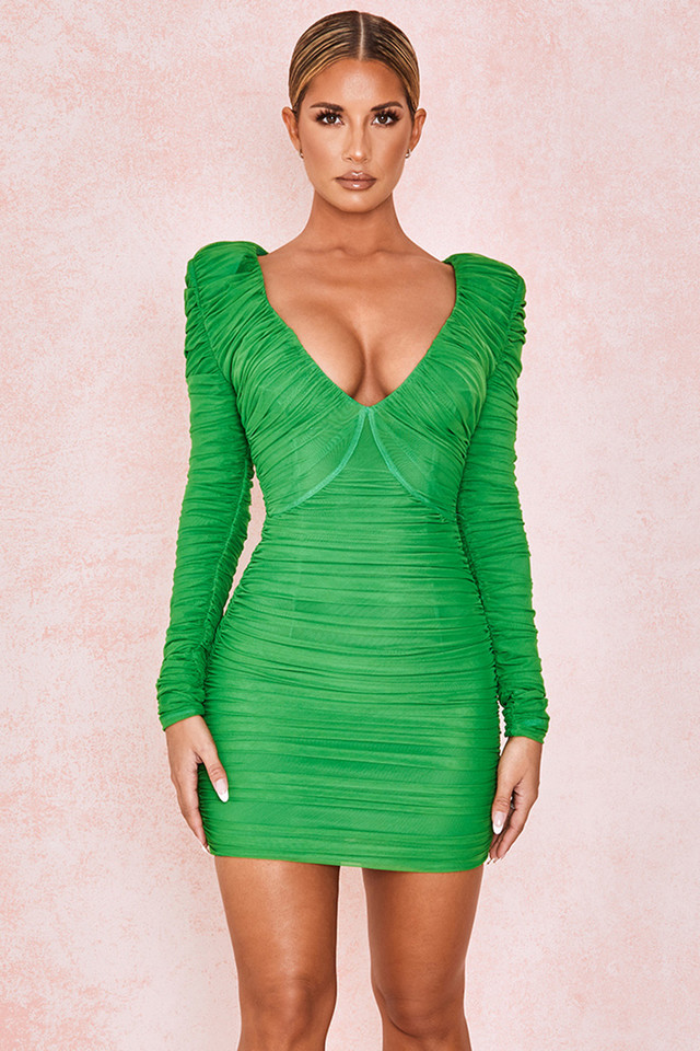 Charmaine Green Gathered Ruched Mesh Dress