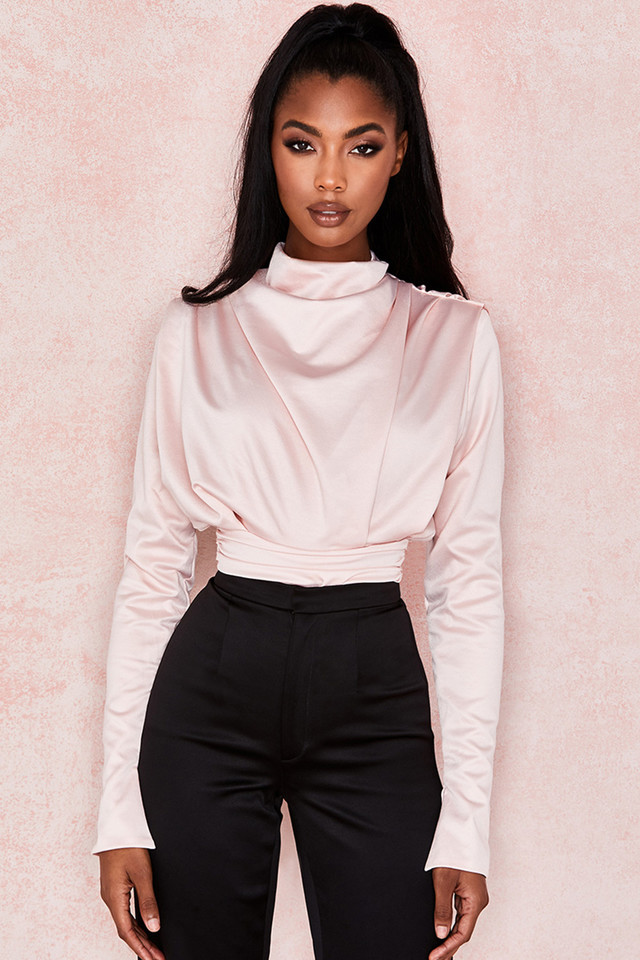 Giselle Blush Satin Blouse Bodysuit