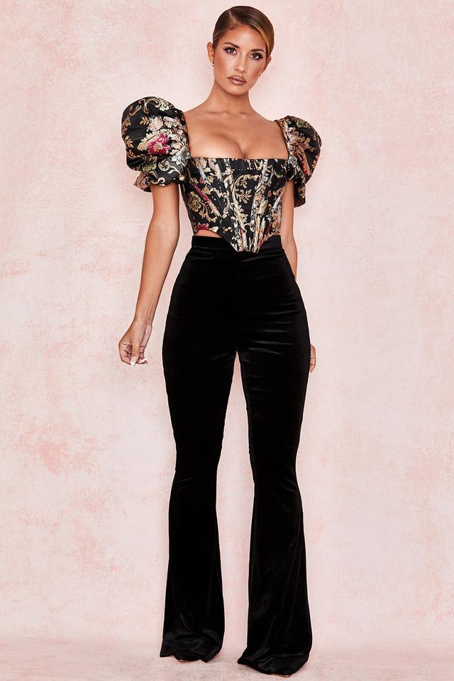 Rihanna Black Velvet High Waist Trousers