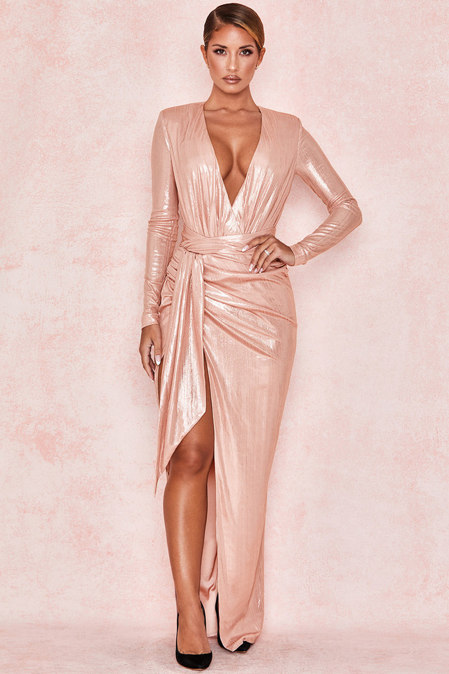 Mina Pink Slinky Silky Floor Length Gown