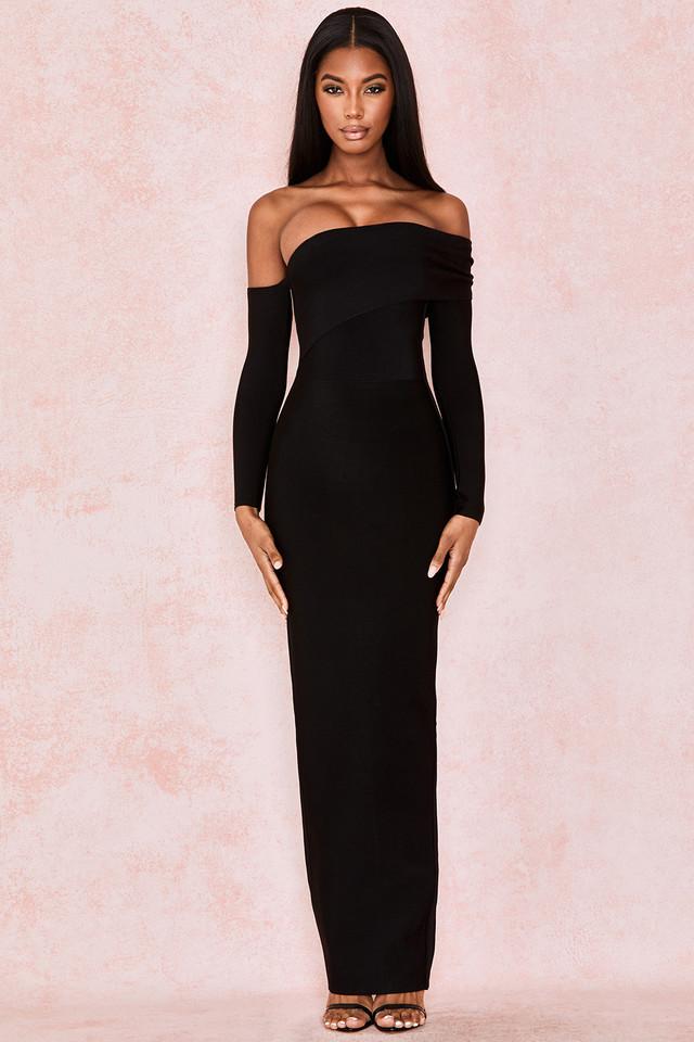 Nalani Black Draped Shoulder Maxi Bandage Dress