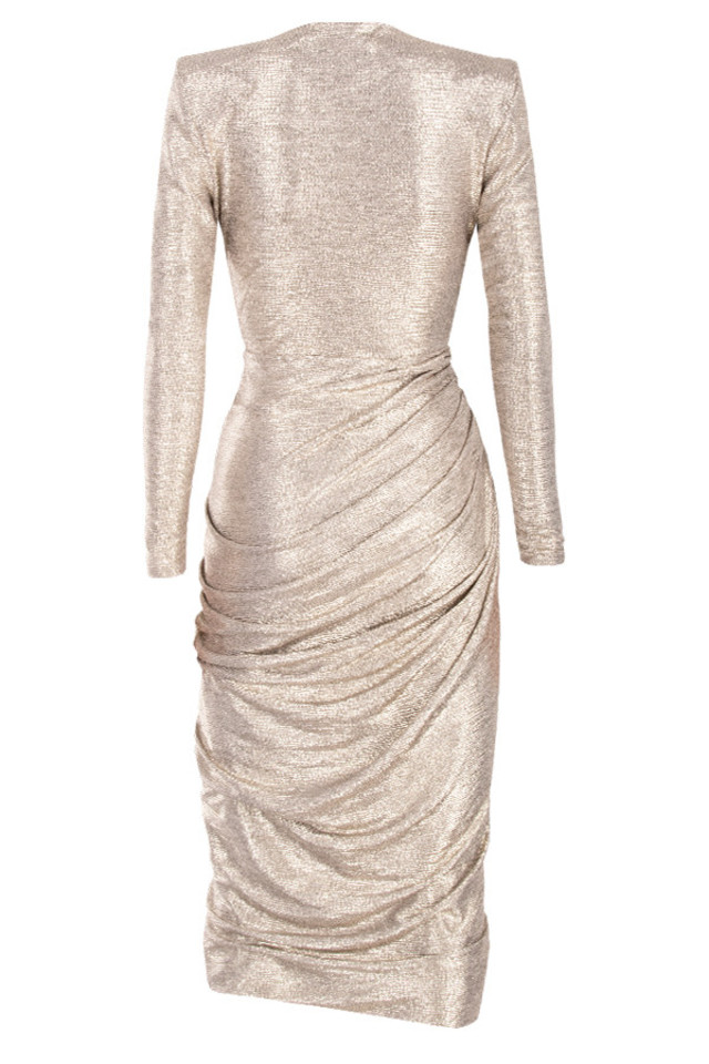 alecea dress in gold