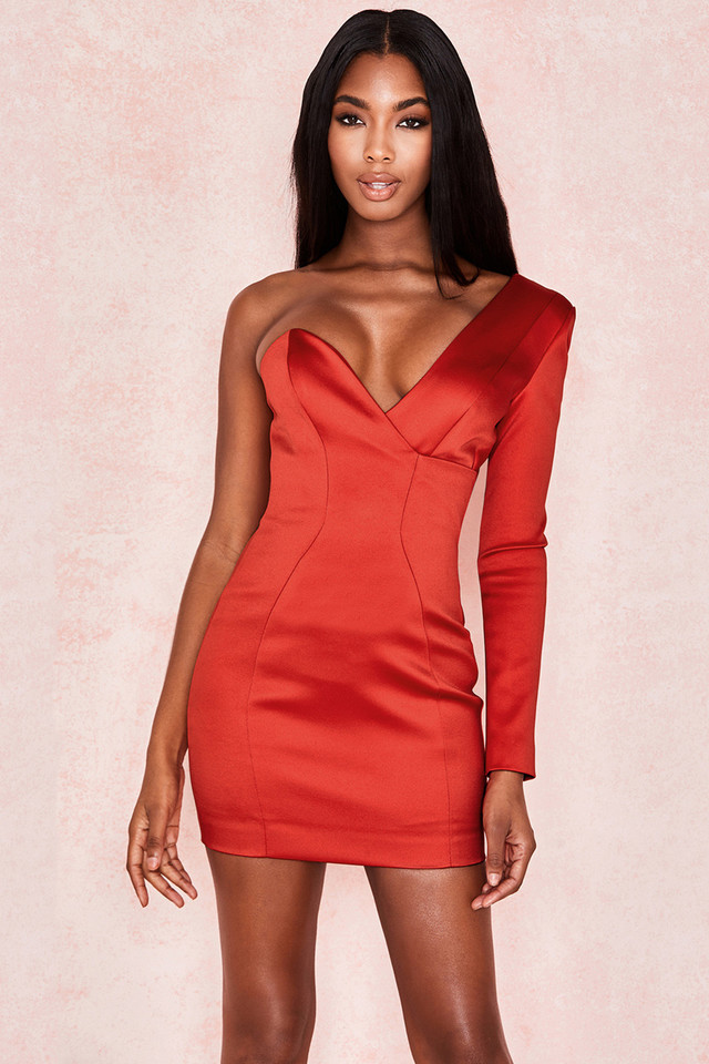 Tiffany Red One Shoulder Satin Dress