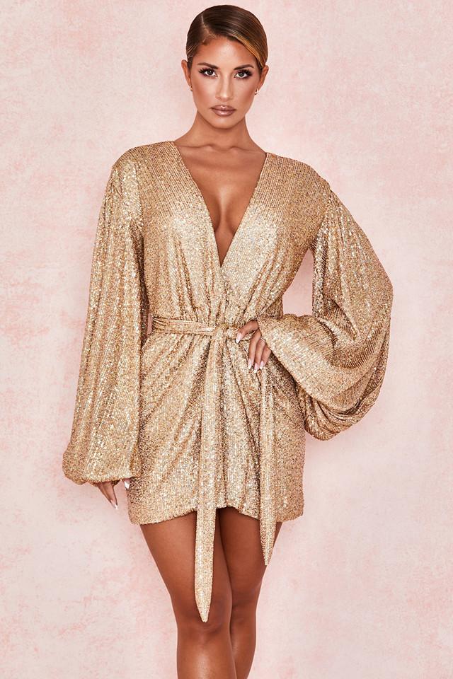 Verina Iridescent Gold Sequinned Wrap Dress