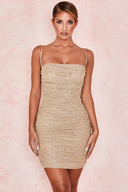 Ella Metallic Gold Ruched Organza Mesh Mini Dress