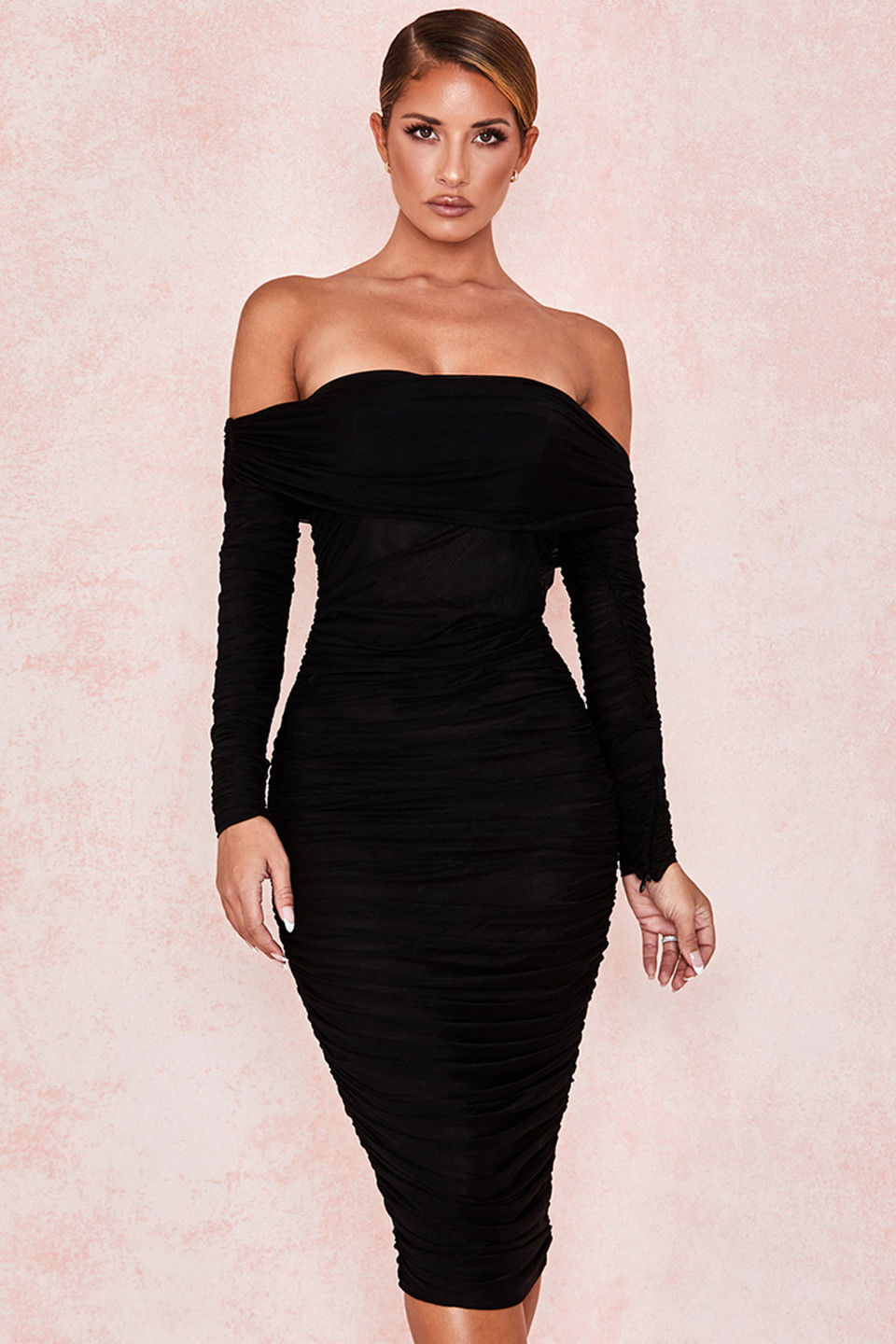 Anais Black Tulle Off Shoulder Ruched Dress