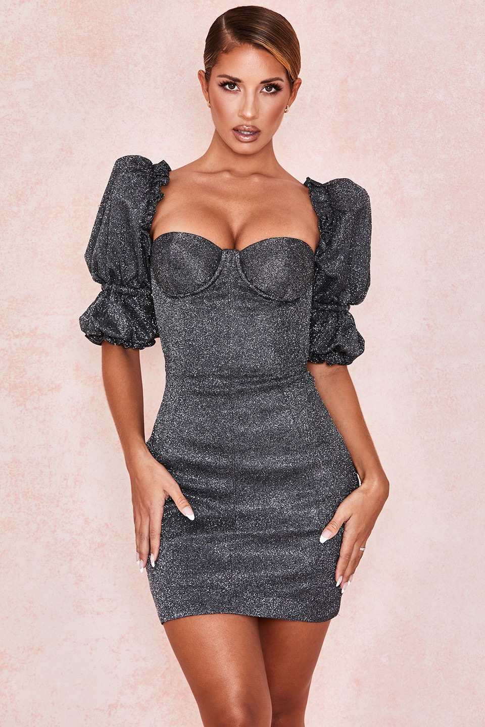Antoinette Black Sparkle Puff Sleeve Dress