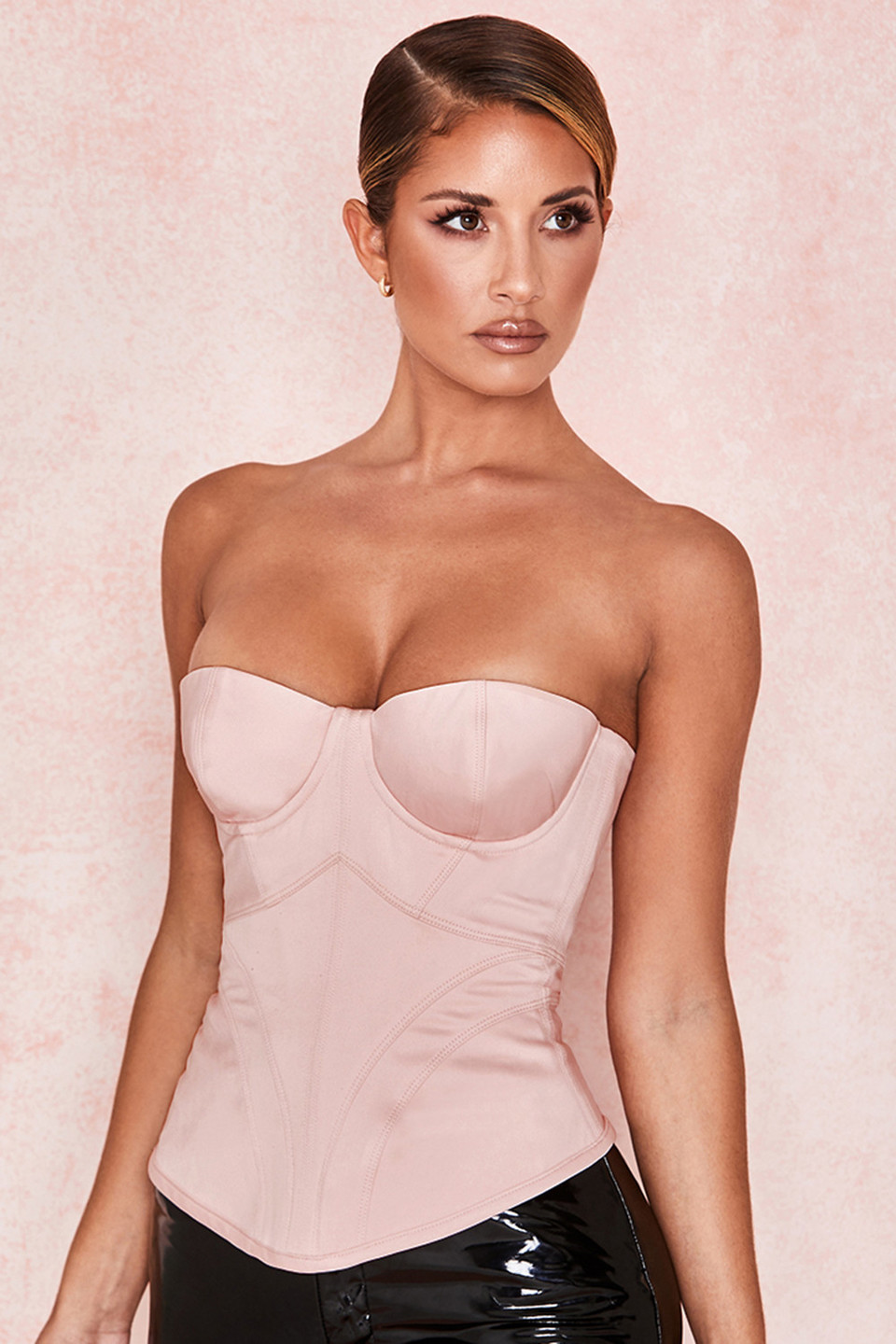 Antonella Blush Satin Boned Corset
