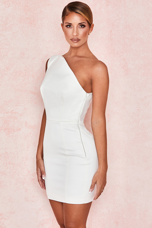 Ayelen Ivory Satin One Shoulder Dress