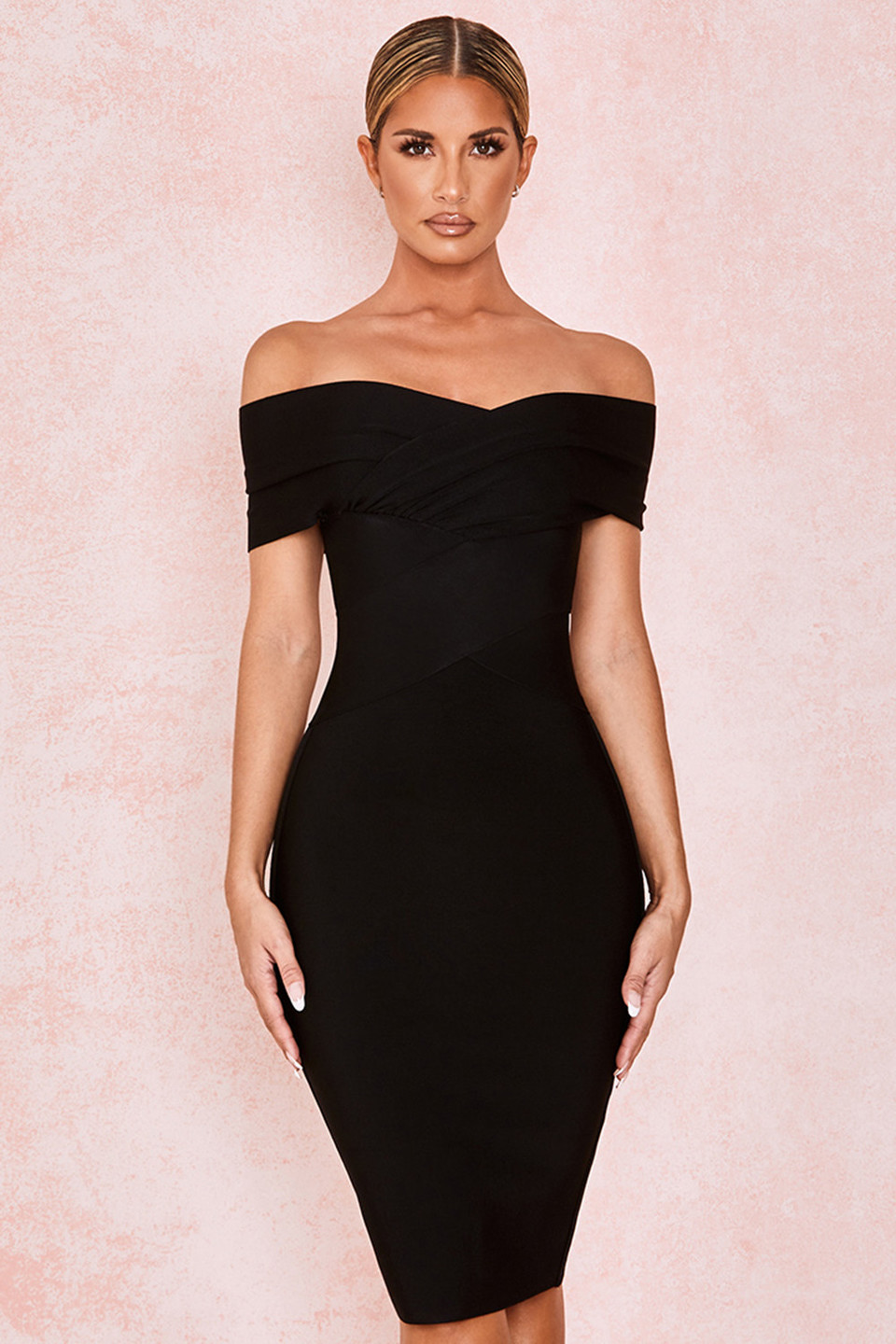 Clarissa Black Off Shoulder Bandage Dress