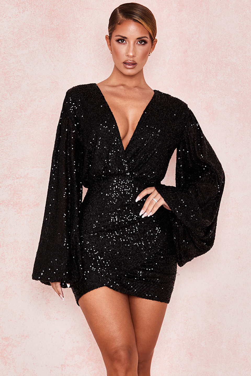 Elias Black Sequin Wrap Dress