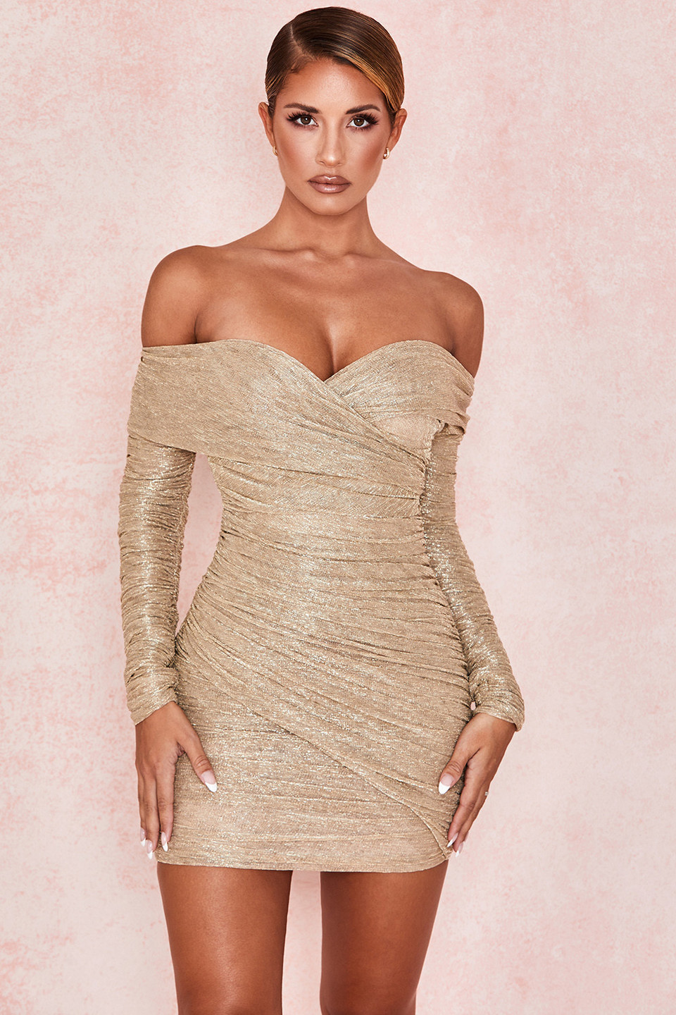 Felicity Gold Ruched Mesh Off Shoulder Dress