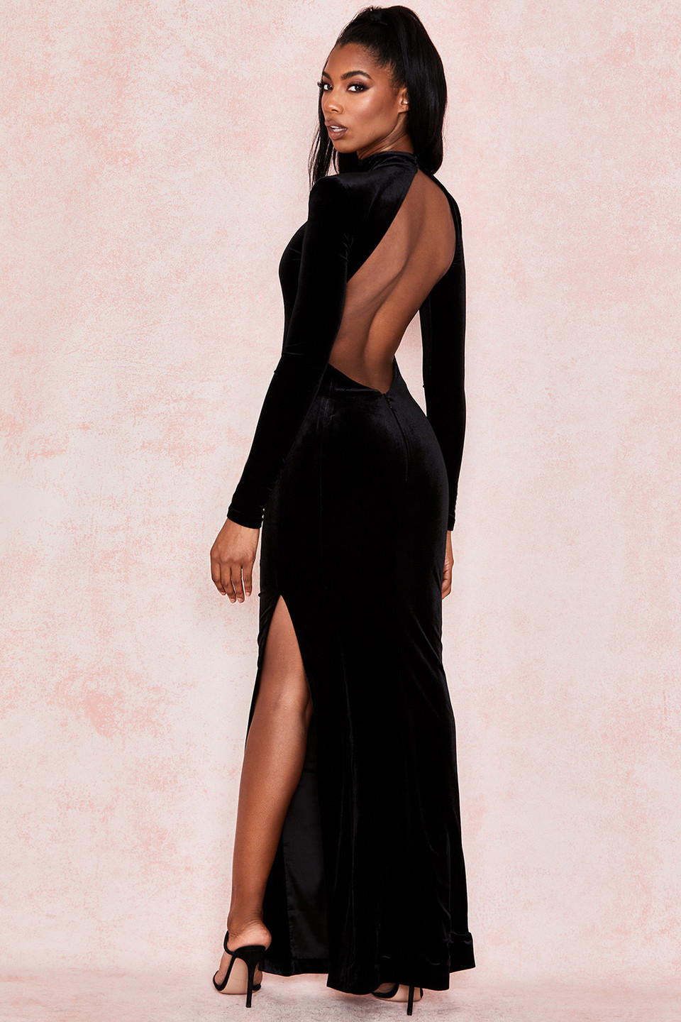 Gabriella Black Velvet Open Back Maxi Dress