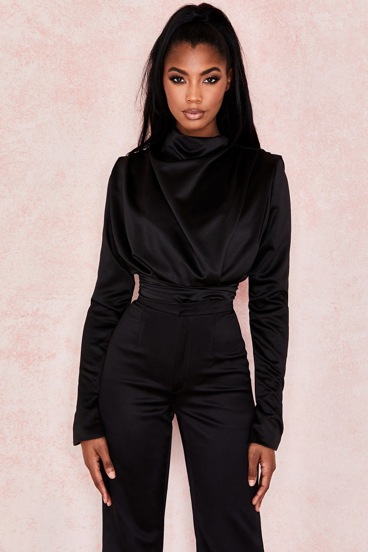Giselle Black Satin Blouse Bodysuit
