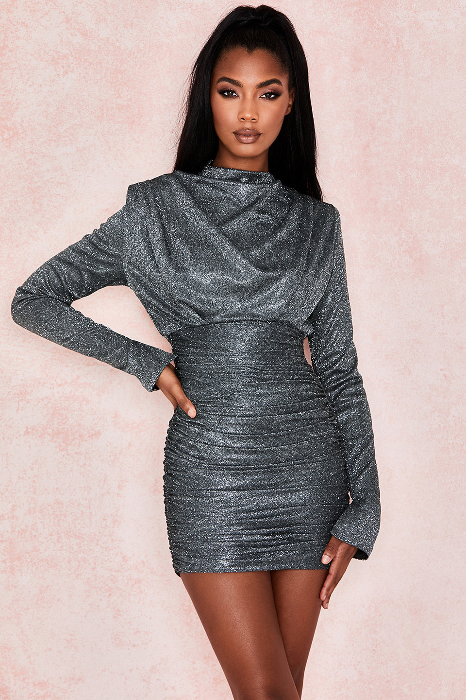 Irena Silver Sparkle Draped Mini Dress