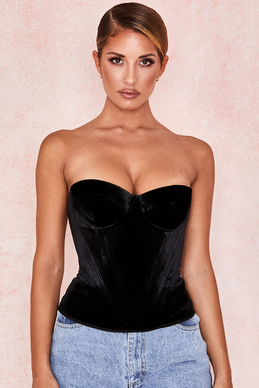 Jessamine Black Velvet Corset