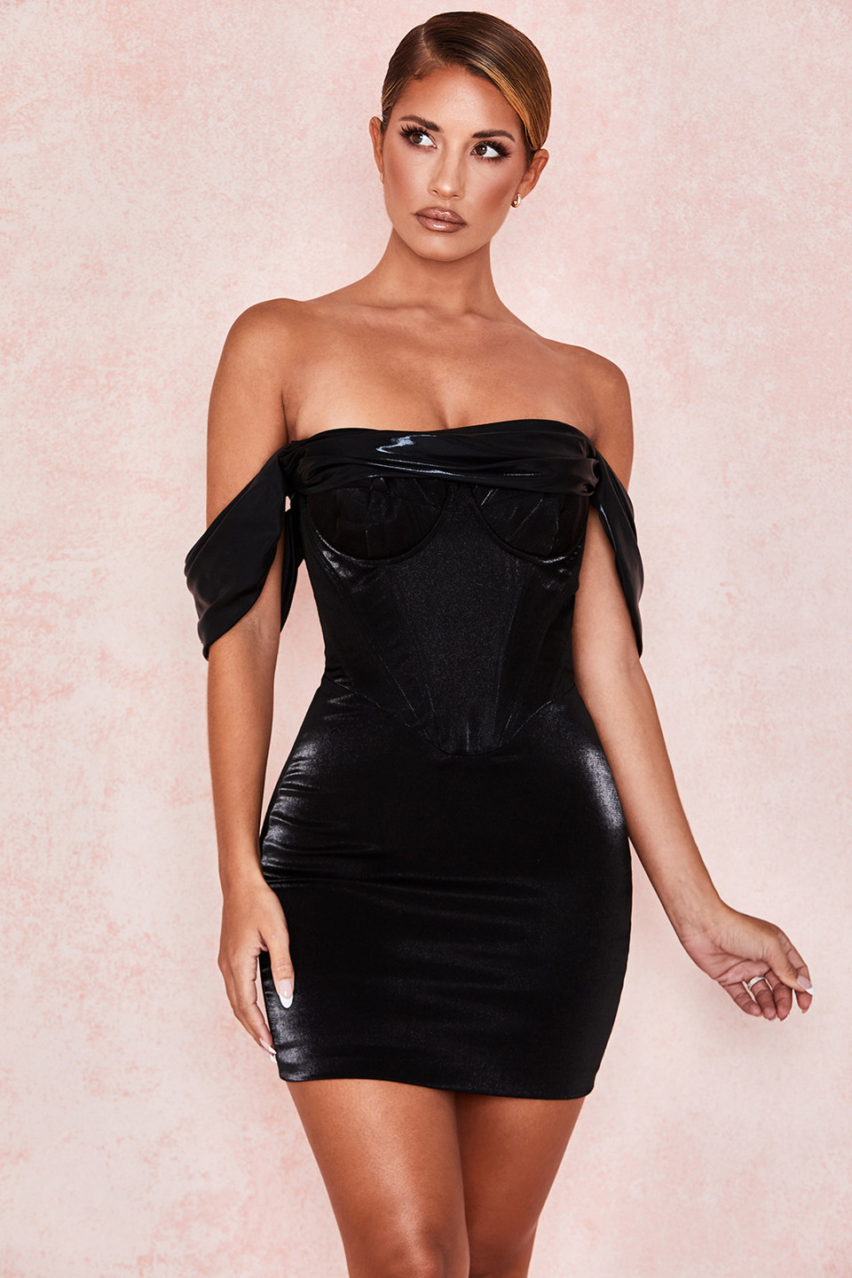 Lucinda Black Off Shoulder Mini Dress