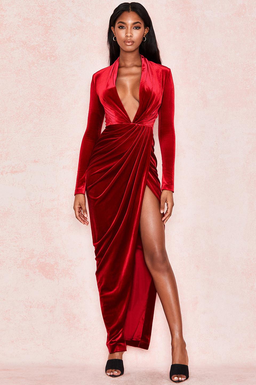 Margali Red Velvet Long Sleeve Wrap Dress