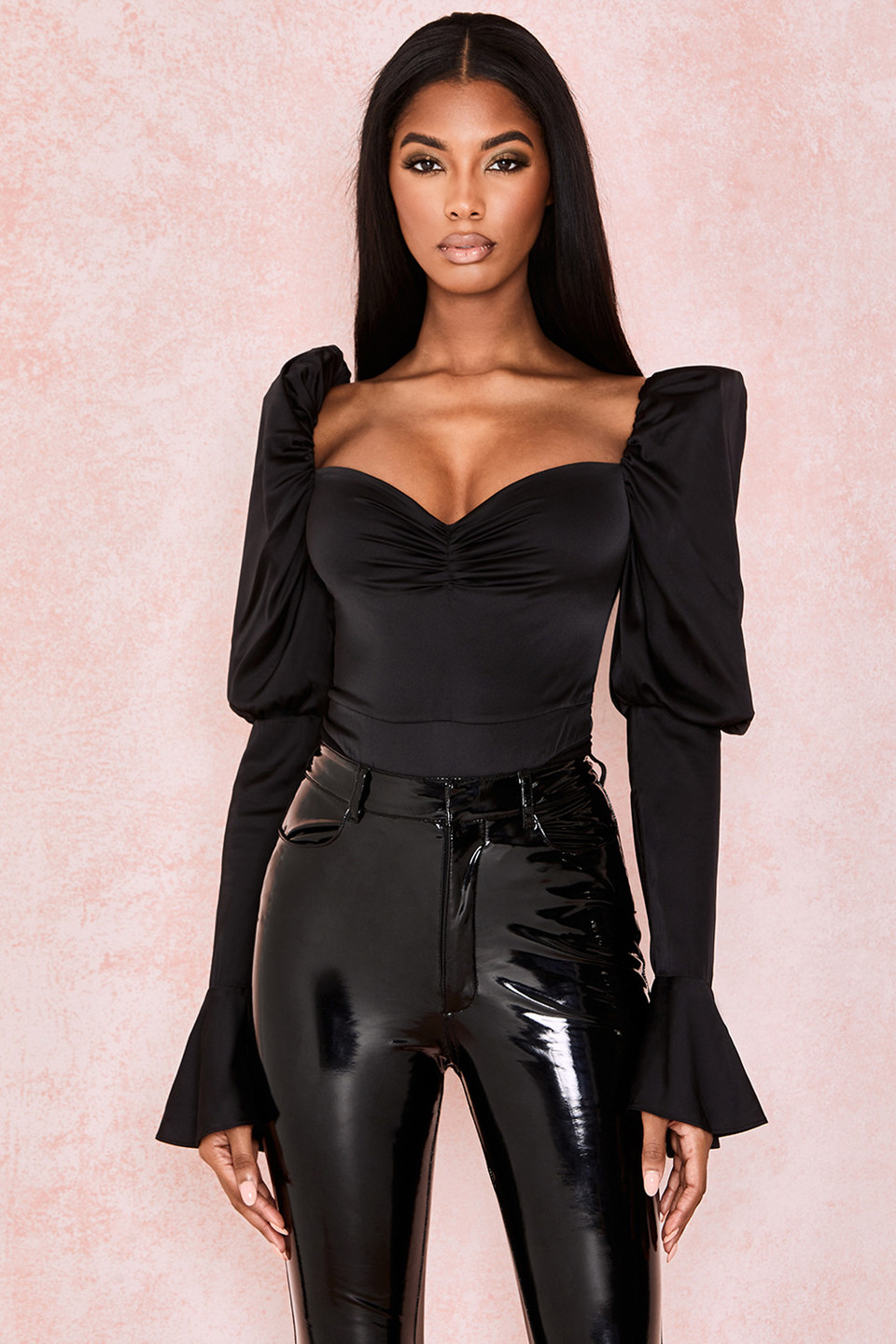 Marianne Black Silk Satin Bodysuit