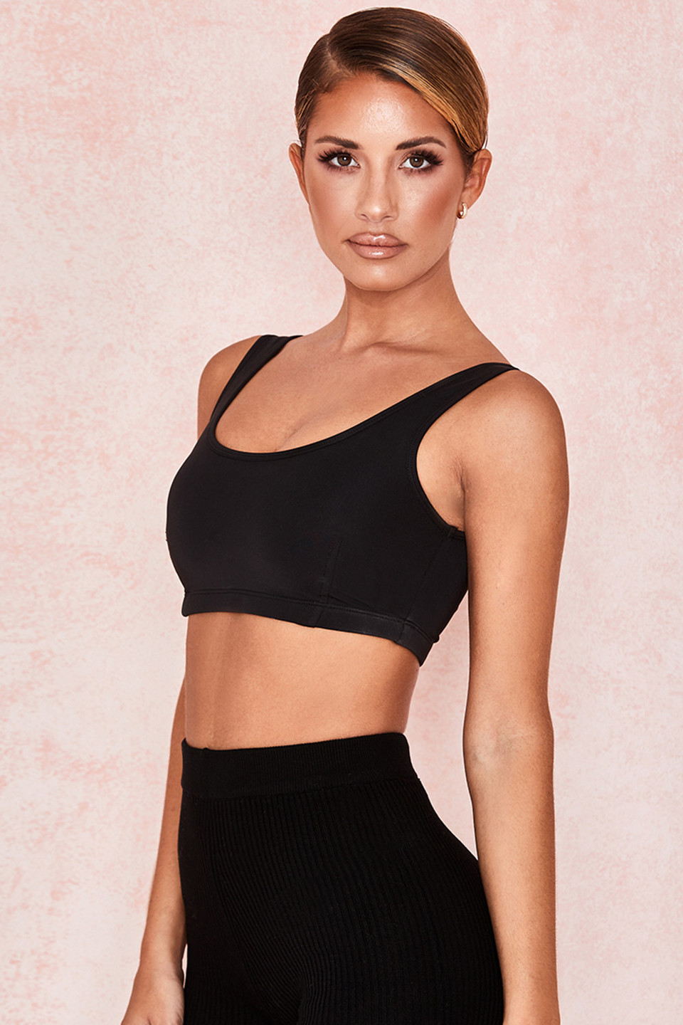 Abbey Black Stretch Jersey Cropped Top
