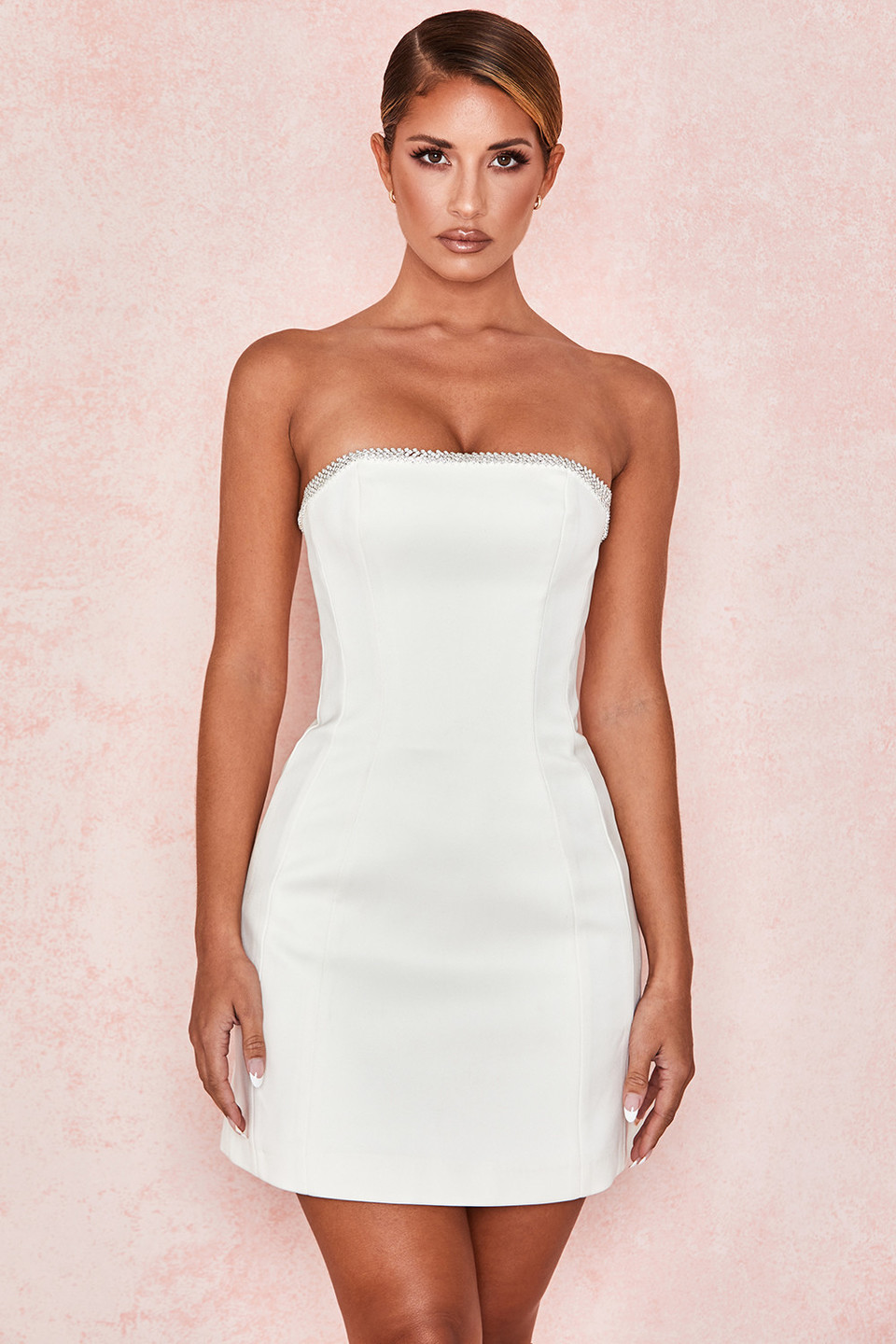 Rowan Ivory Satin Crystal Strapless Dress