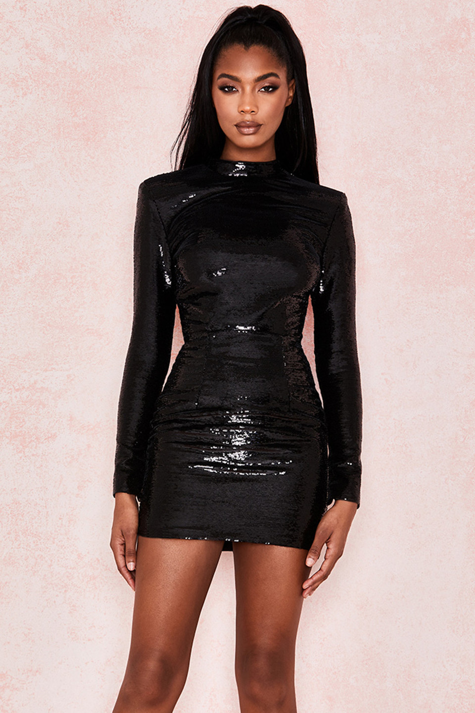 Rubi Black Sequin High Necked Mini Dress