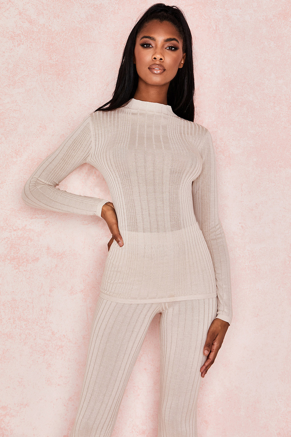 Marna Taupe Ribbed Knit Top