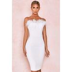Bianca White Feather Strapless Dress