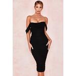 Carlotta Black Ruched Chiffon Midi Dress