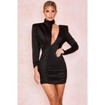 Mirella Black Slash Neck Mini Dress