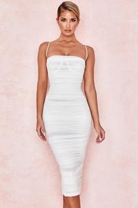 Sirene Ivory Gathered Organza Mesh Dress