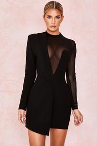 Chelsea Black Asymmetric Tux Blazer Dress