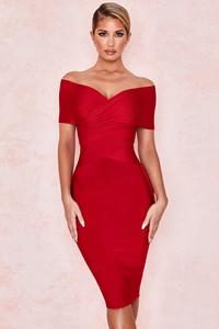 Clarissa Red Off Shoulder Bandage Dress