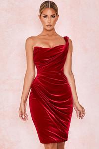 Eliska Claret Velvet Draped Dress