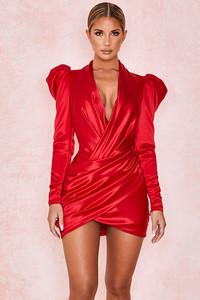 Rita Red Satin Wrap Plunge Dress