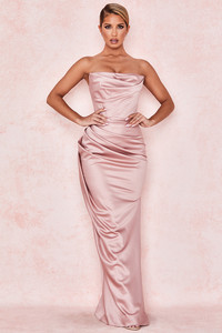 Adrienne Blush Satin Strapless Gown