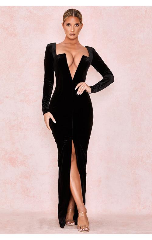 Charlotte Black Velvet Plunge Neck Maxi Gown