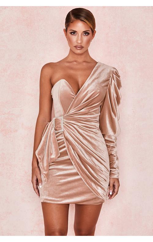 Tamara Blush Velvet Crystal Dress