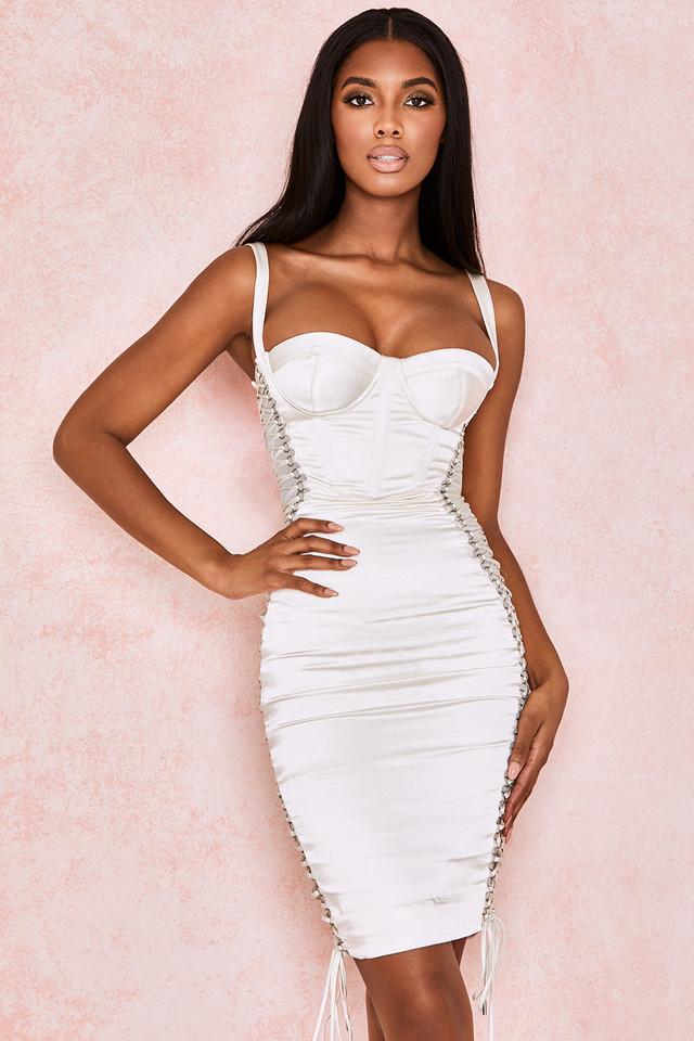 Angelina Ivory Satin Lace Up Corset Dress