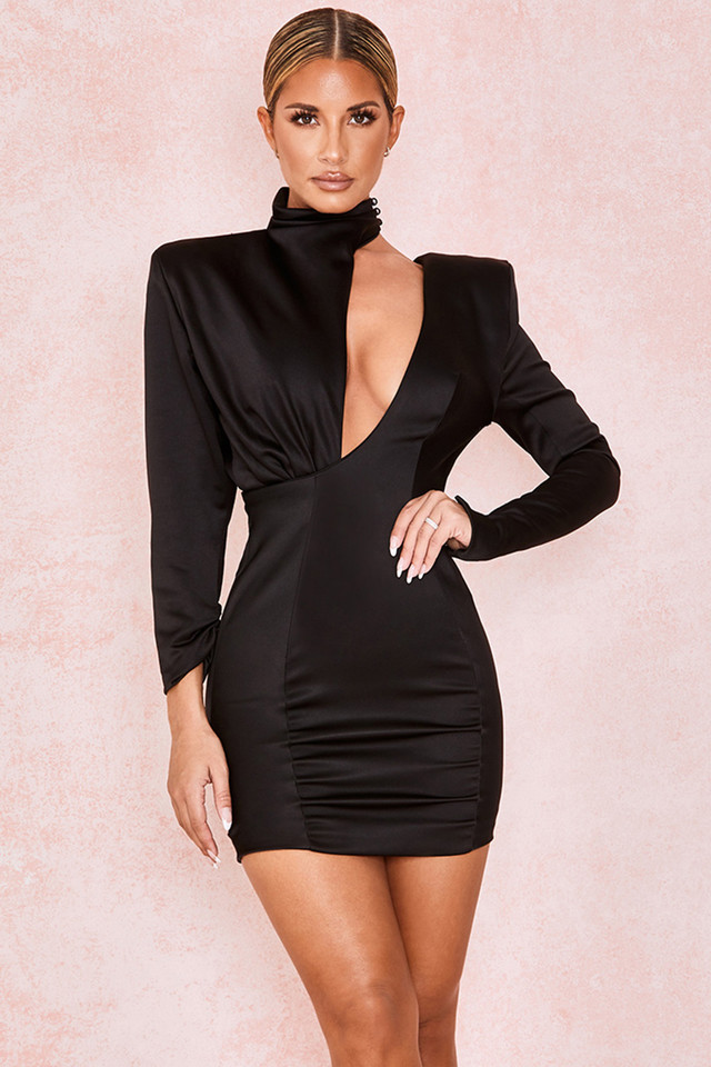 Mirella Black Slash Neck Mini Dress