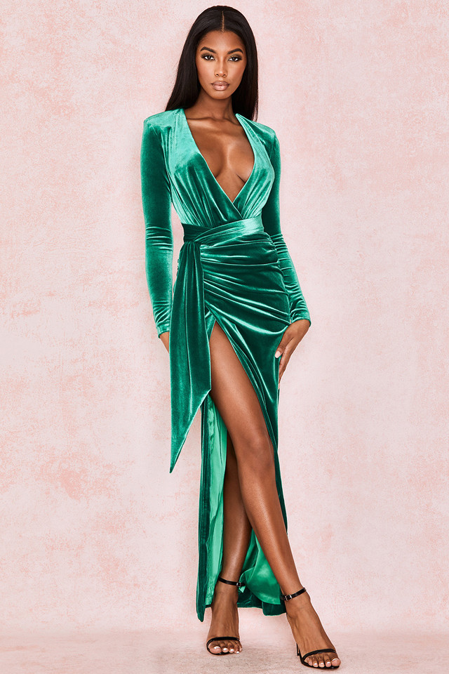 Florence Emerald Velvet Draped Maxi Gown