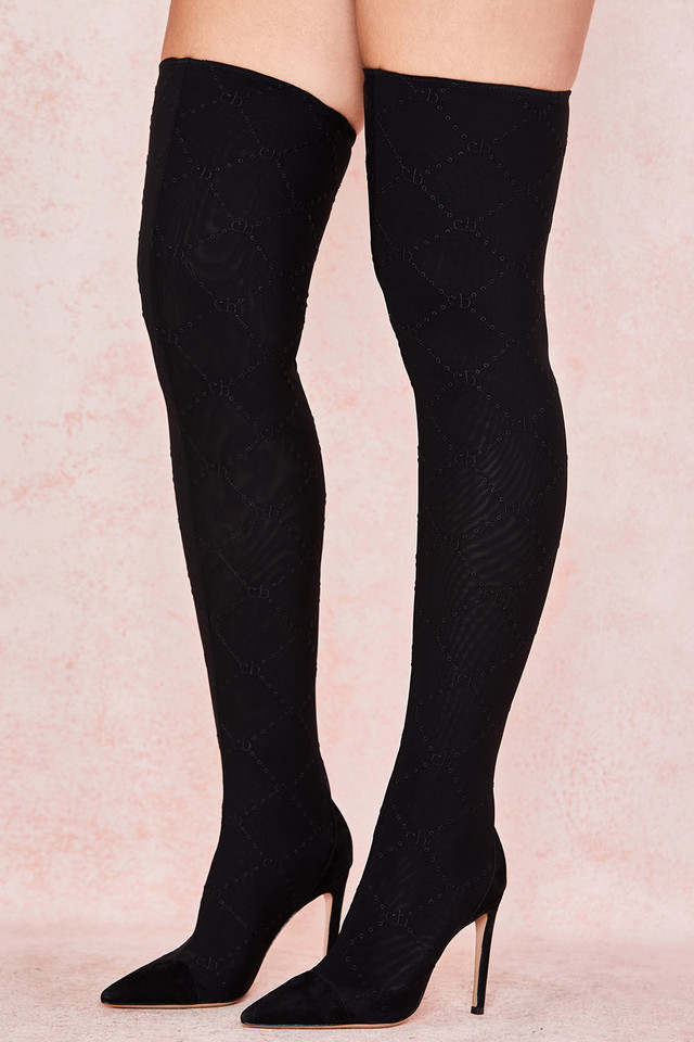 Escape Black Mesh Monogrammed Thigh Boots
