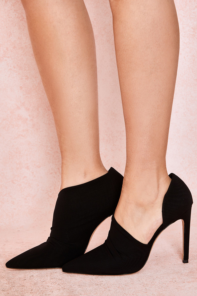 Honor Black Sueded Cut Out Heels