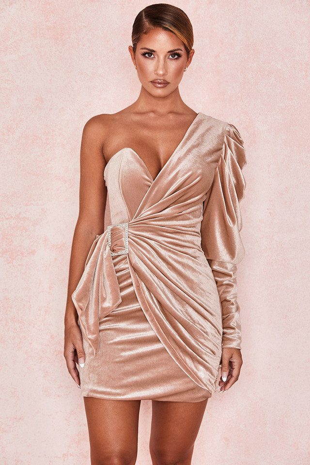 Tamara Blush Velvet Crystal Dress