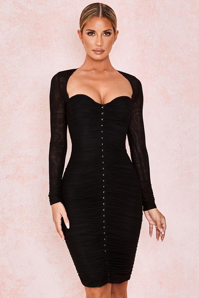 Tavia Black Ruched Mesh Midi Dress