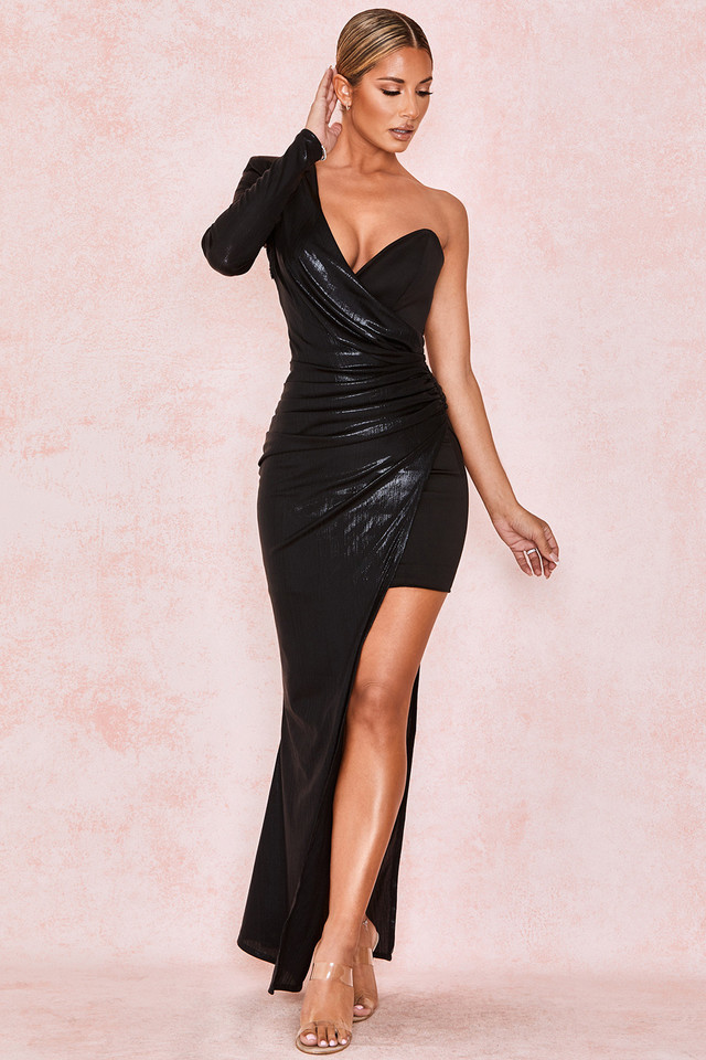 Vona Black Asymmetric Draped Gown