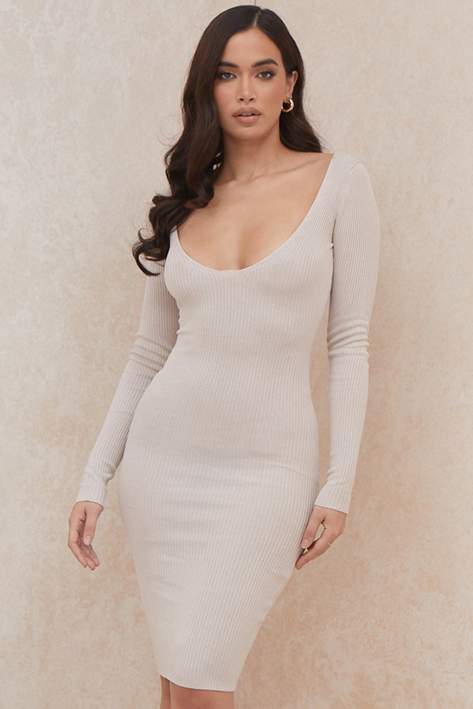 Adeline Mink Rib Knit Midi Dress