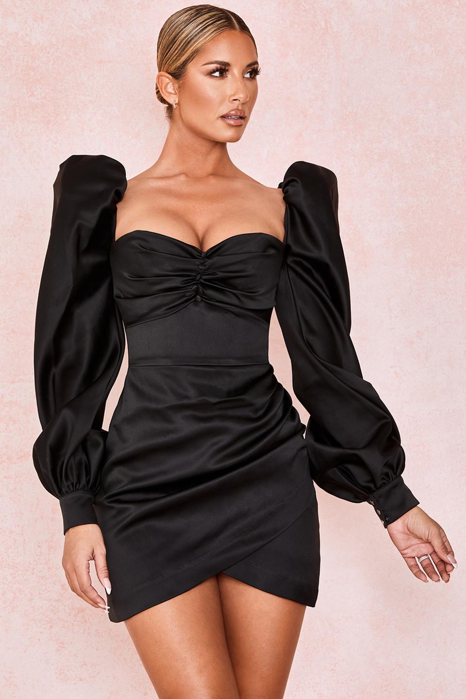 Cherie Black Satin Puff Sleeve Dress